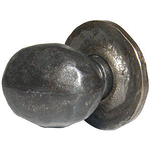 "Hand-beaten oval knob with black wax 1½"" x 1"" - ABC Ironmongery"