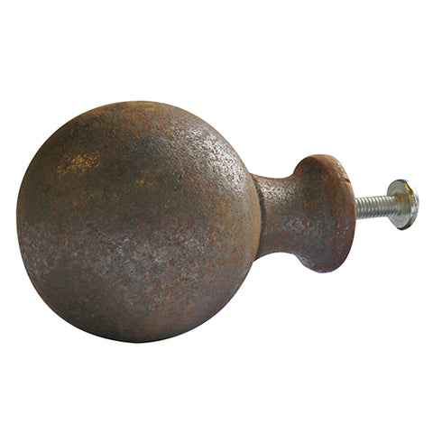 Cannonball knob in self colour rustic cast iron - ABC Ironmongery