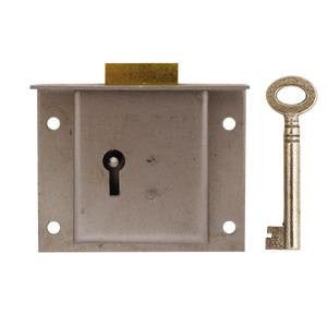 "Drawer lock in steel, 2¾"" x 2¼"". 1"" to pin - ABC Ironmongery"
