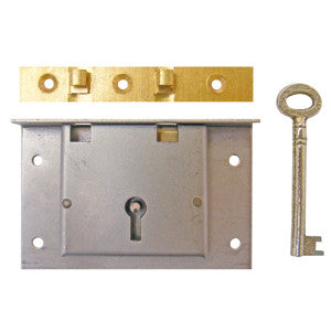 "Chest lock in steel, 3½"" x 2¼"". 1¼"" to pin - ABC Ironmongery"