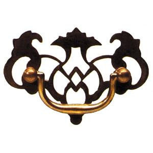 Filligree plate handle in antique brass - ABC Ironmongery