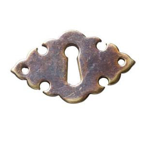 "Horizontal escutcheon 1⅞"" x 1⅛"" in antique brass - ABC Ironmongery"