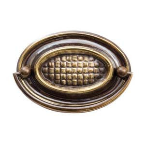 "Oval plate handle 3⅜"" x 2¼"" in antique brass - ABC Ironmongery"