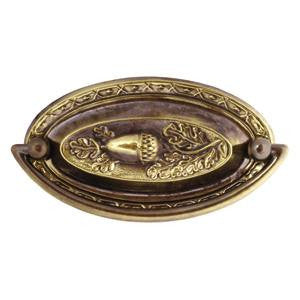 "Oval plate handle 3½"" x 2"" in antique brass - ABC Ironmongery"
