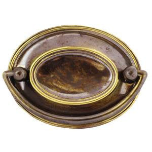 Oval plate handle in antique brass - ABC Ironmongery