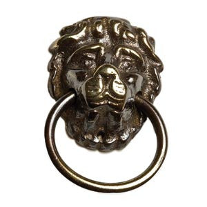 Lion ring pull 45mm x 28mm in antique brass - ABC Ironmongery