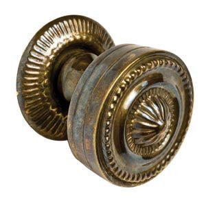 Sheraton-style brass knob with backplate - ABC Ironmongery