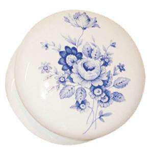 White porcelain knob with flower design - ABC Ironmongery