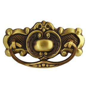 Victorian plate handle in antique brass - ABC Ironmongery