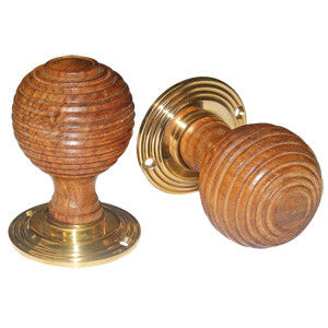 Hardwood reeded mortice door knob set 50mm diameter - ABC Ironmongery
