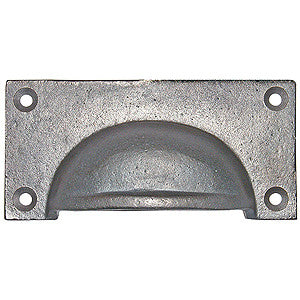 "Square drawer pull 4"" x 2"" in rustic cast iron - ABC Ironmongery"