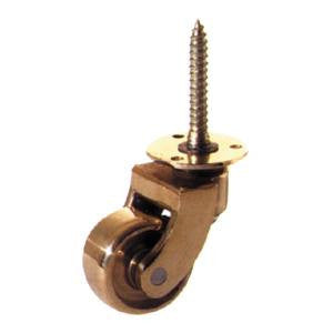 Screw plate castor with brass wheel - ABC Ironmongery