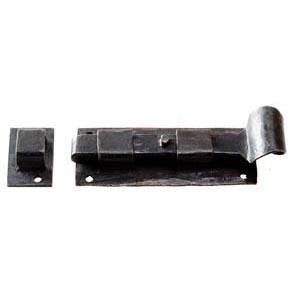 "Hand forged straight bolt 4"" with black waxed finish - ABC Ironmongery"