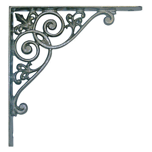 "Cast iron bracket 8¾"" x 8¾"" with swirl design"