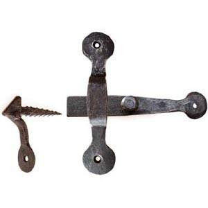 "Hand forged cupboard latch 6¾"" x 5½"" in black waxed finish - ABC Ironmongery"