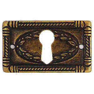"Continental style escutcheon 1¾"" x 1"" in antique brass - ABC Ironmongery"
