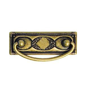 "Continental style drawer handle 3¾"" x 1¼"" in antique brass - ABC Ironmongery"