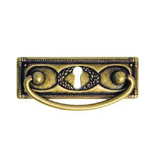 "Continental style drawer handle with keyhole 3¾"" x 1¼"" in antique brass - ABC Ironmongery"