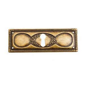 "Continental style horizontal escutcheon 3¾"" x 1¼"" in antique brass - ABC Ironmongery"
