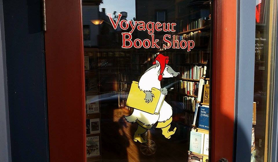 Front window of Voyageur Book shop in Milwaukee, Wisconsin