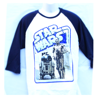 Star Wars Men's Baseball Raglan Sleeve T-Shirt - Retro Droids - Julespire Movie Memorabilia