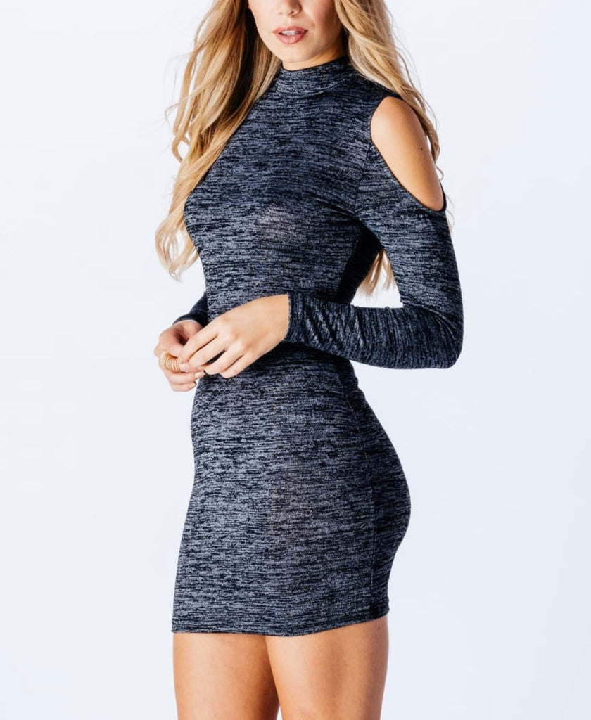 Parisian High Neck Cold Shoulder Knitted Dress - Dark Grey, Size 8 ...