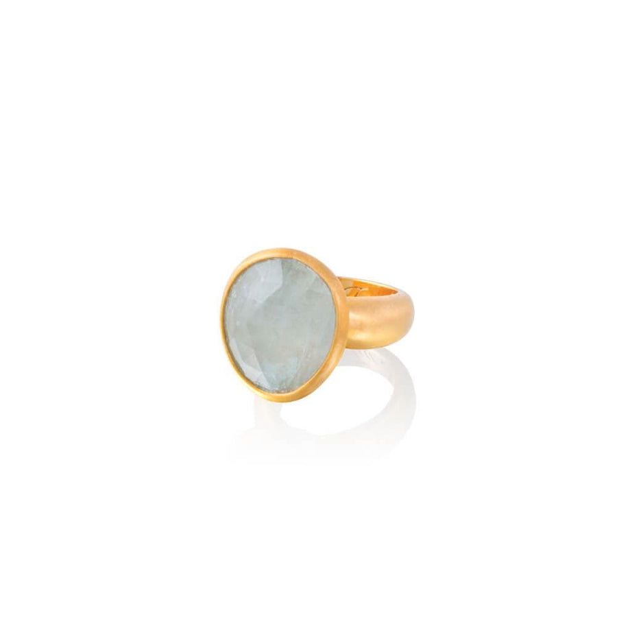 Om Tat Sat Ring • Aquamarine • Gold
