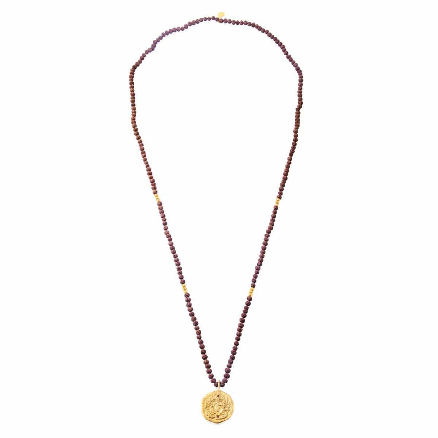 Ganapati Necklace with Rudraksha • Gold