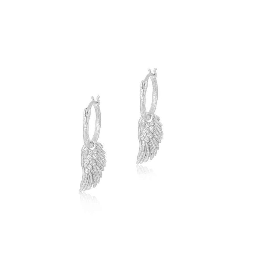 Spread your wings hoop earrings - silver