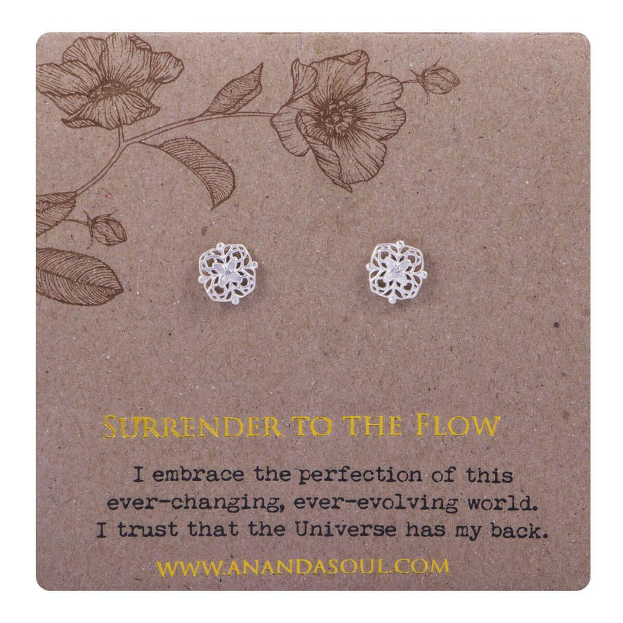 Surrender to the flow stud earrings - silver