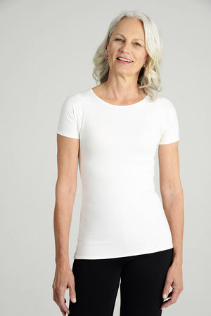 """Silky"" Jewel Neck Short Sleeve T-Shirt"