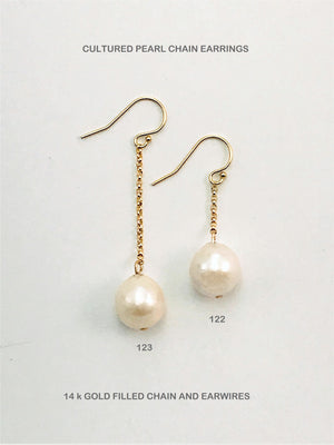 Cultured Pearl Chain Earrings