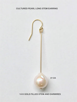 Cultured Pearl Stem Earrings
