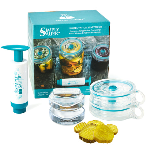 Simply Sauer - 2 Fermentation Airlocks, 2 Sauer Stones and 1 Vacuum Pump - 5 Piece Kit