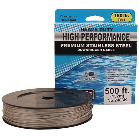 Scotty - 180 lb HP Stainless Steel Downrigger Cable - 500 Foot Spool Kit