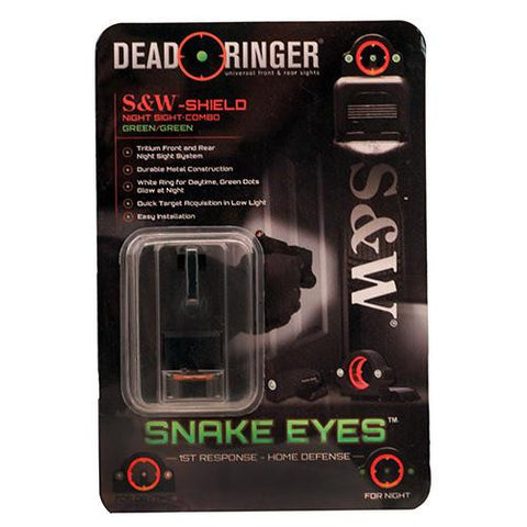 Dead Ringer -  Snake Eyes Combo Sight - Smith & Wesson Shield, Green Front and Rear