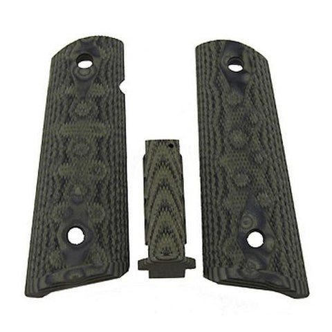 Hogue - Government G10 Mag Grip Kit, Checkered Flat Mainspring - Olive Drab Green Camo