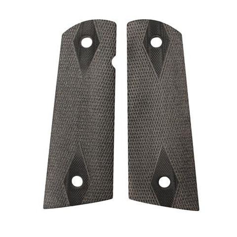 Hogue - Colt & 1911 Government S&A Mag Well Grips - Checkered G-10 Solid Black