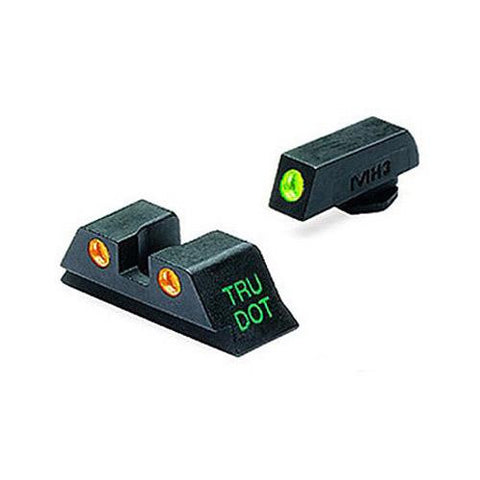 Mako Group - Glock - Tru-Dot Sights - 9mm-357 Sig-.40 S&W-.45 GAP, Green-Orange, Fixed Set