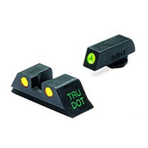 Mako Group - Glock - Tru-Dot Sights - 9mm-357 Sig-.40 S&W-.45 GAP, Green-Yellow, Fixed Set