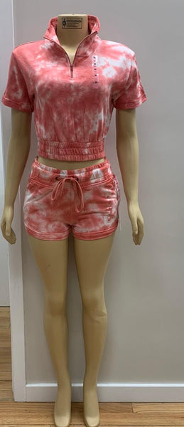 Tie Dye  Crop 1/4 Zipper Short Set