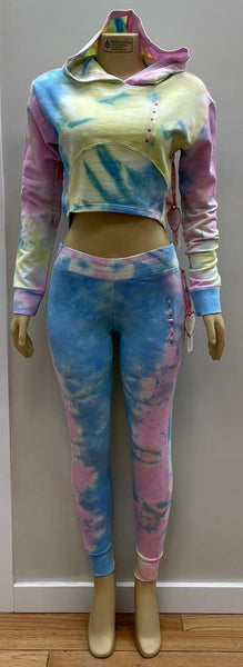 Tie Dye Crop Over Lap Hoop Jogger Set
