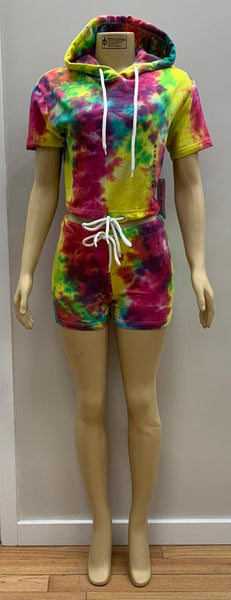 Tie Dye Cloud Hoodie Short Set