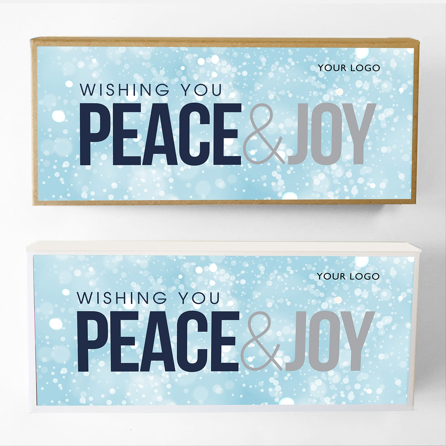 Peace and Joy Custom Caramel Holiday Gift Box Large