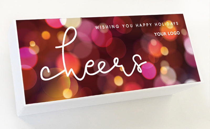 Cheers White Holiday Gift Box Custom Caramel Gifts
