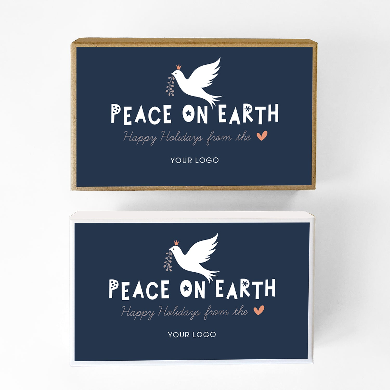 Peace on Earth Blue Custom Caramel Holiday Gift Box