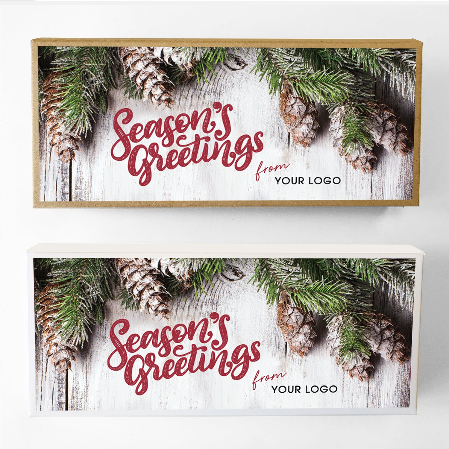 Pineboard Seasons Greetings Custom Caramel Holiday Gift Box Large