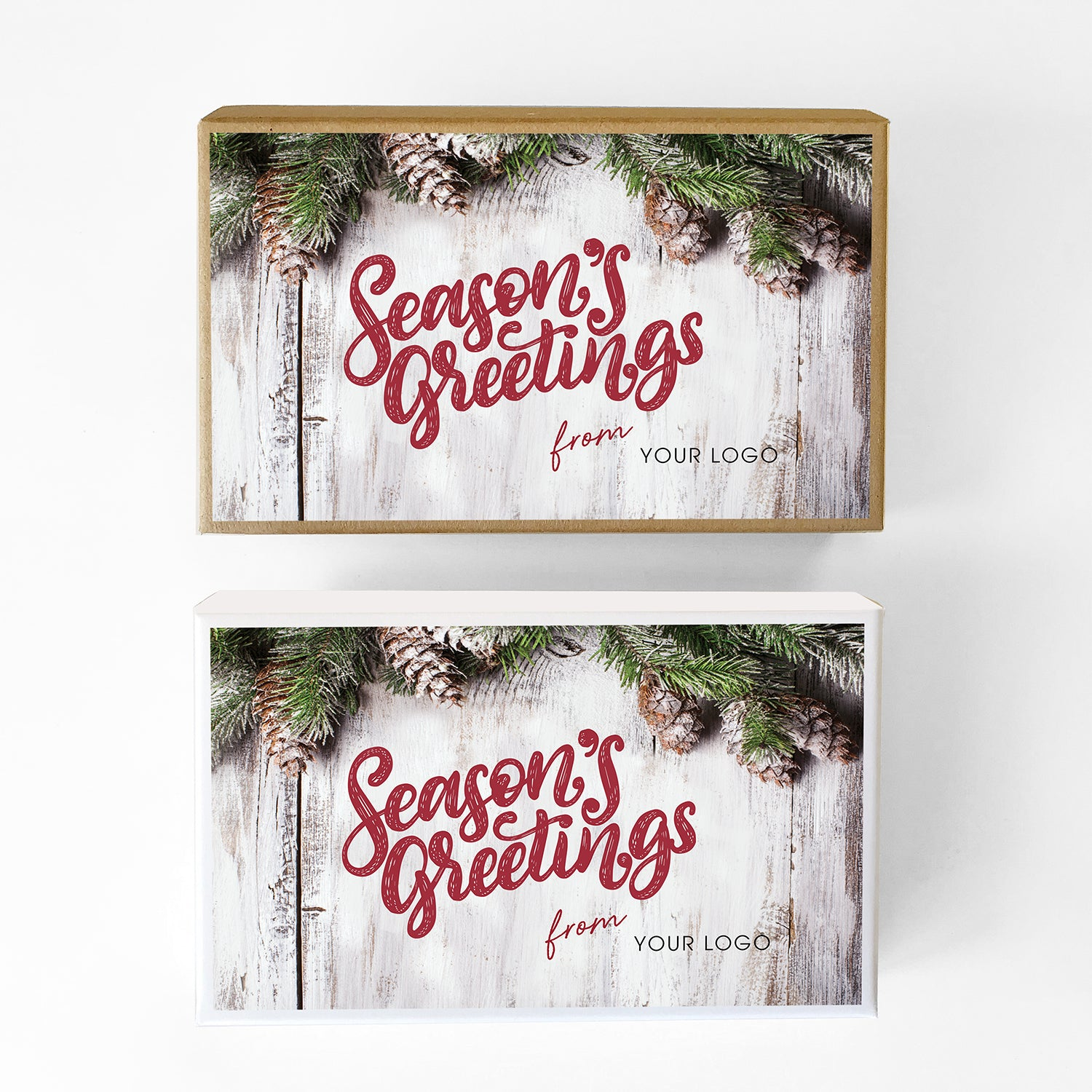 Whitewashed Pine Custom Caramel Holiday Gift Box