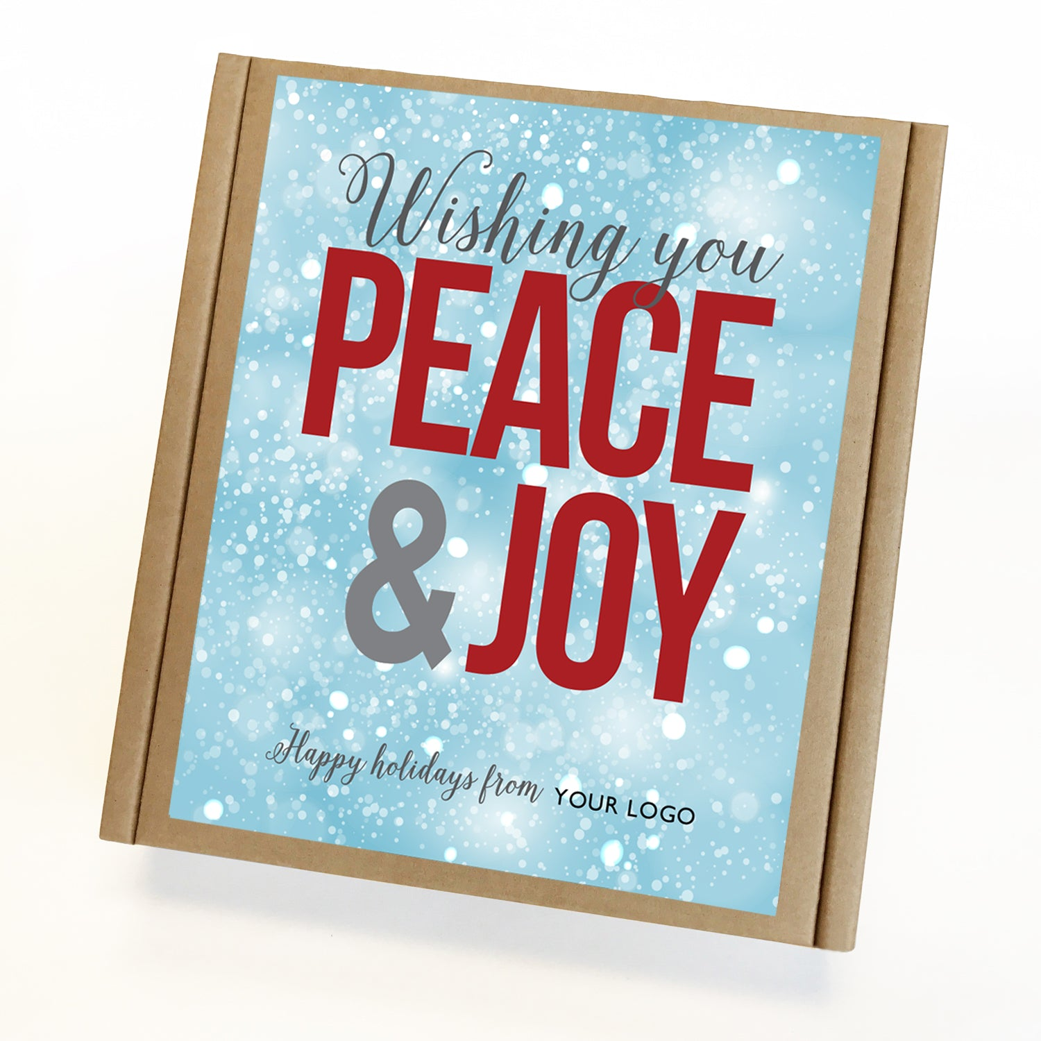 Peace and Joy Eco Custom Caramel Holiday Gift Box