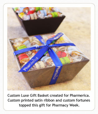 Custom Luxe Caramel Gift Basket with ribbon